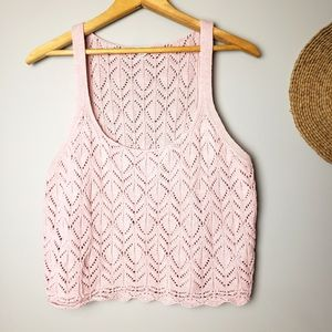 Garage Soft Pink Crocheted Cropped Cami Large